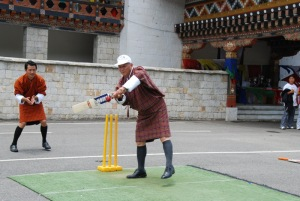 Lyonpo Kandu Wangchuk showing his batting skills