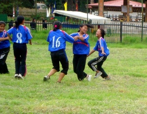 Changzamtog girls celebrating after getting wicket