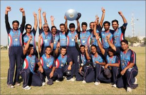 Kuwait with the Pepsi ICC World Cricket League Division 8 Trophy